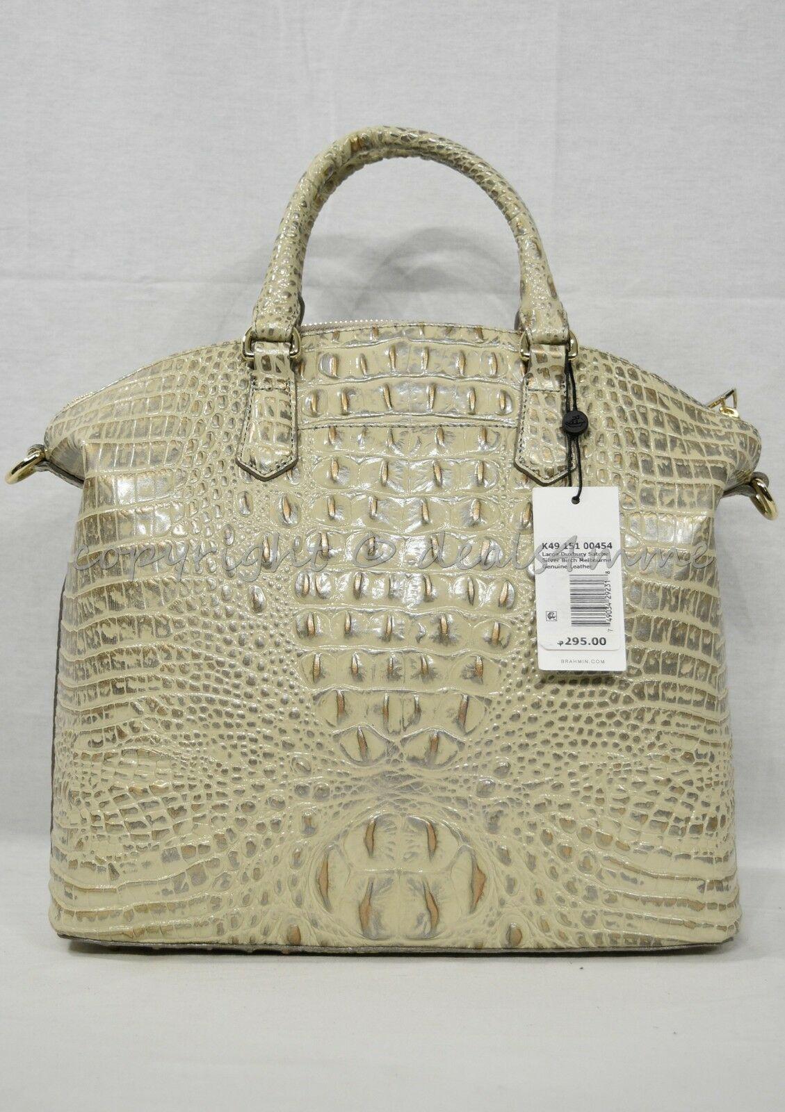 NWT Brahmin Large Leather Duxbury Satchel/Shoulder Bag in Silver Birch Melbourne image 7