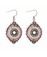 Jane Eyre Boho Dangle Crystal Glass Beaded Earrings for Women Ethnic Han... - $20.02