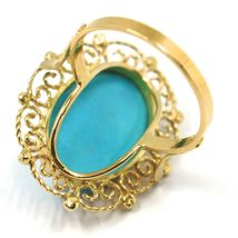 18K YELLOW GOLD RING, CABOCHON OVAL TURQUOISE WORKED FLOWER FRAME, MADE IN ITALY image 4