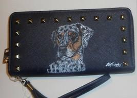 Catahoula Leopard dog Portrait Navy Wallet for Women Hand Painted Vegan - $45.00