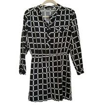 RD Style Check Henley Dress M Medium Black Long Sleeve  - $11.99