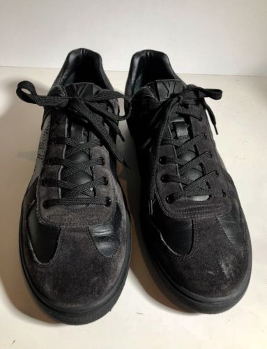 7b040fd89c0c 12. 12. Louis Vuitton Suede Leather Black Damier Sneaker shoes Men s Size  9.5   10.5 us