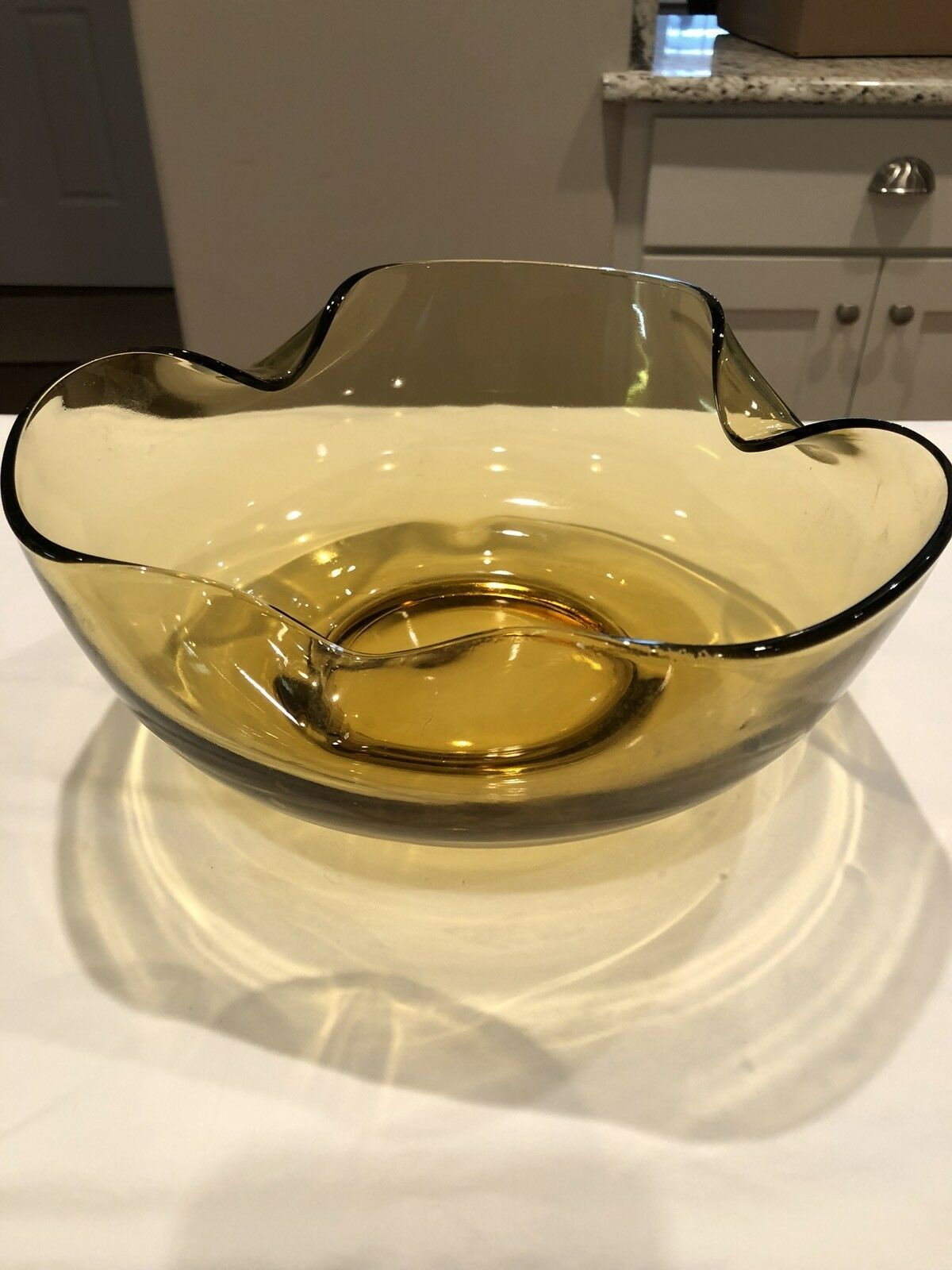 Vintage Mid Century Glass Amber Folded Bowl.