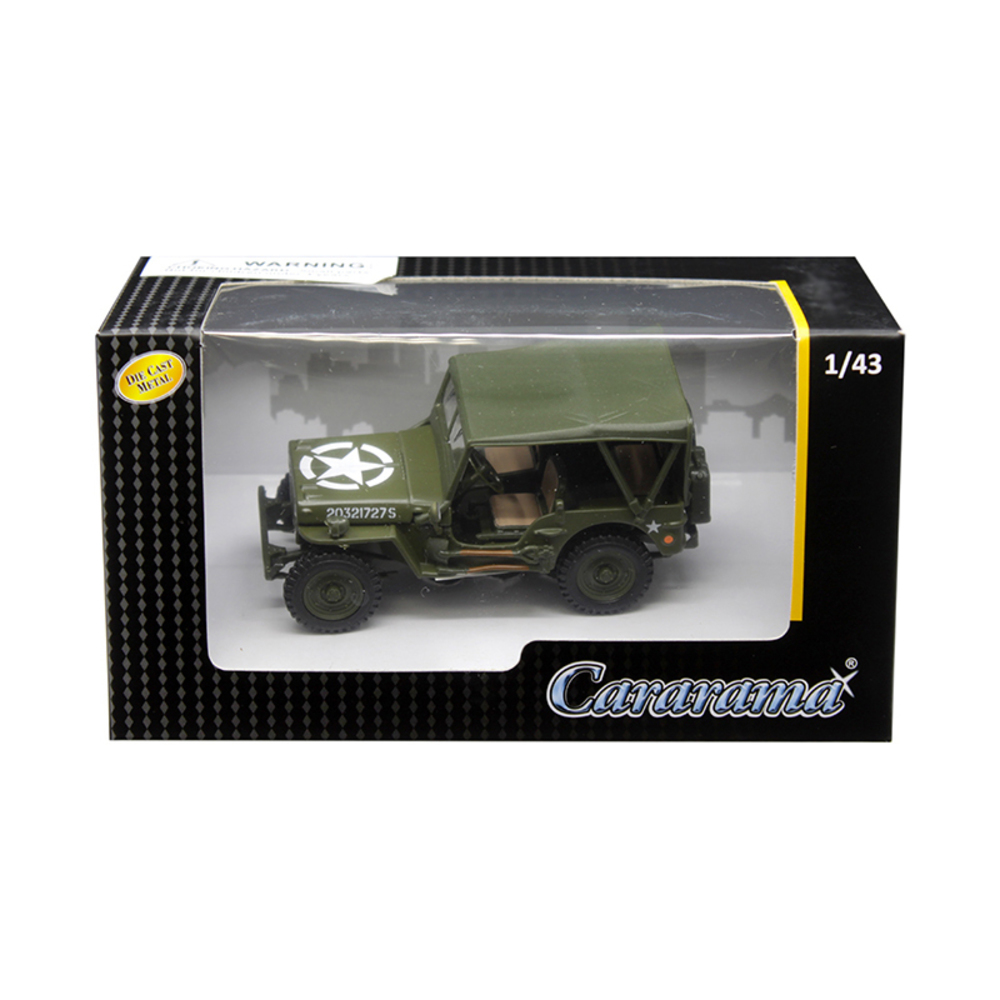 1/4 Ton Military Vehicle Soft Top Green 1/43 Diecast Model Car by Cararama 4-901