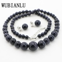 WUBIANLU Wholesale 6-14mm Golden Green Blue Sand Stone Round Beads Woman... - $25.48