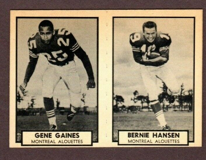 1962 TOPPS CFL FOOTBALL CARD PANEL #86 GENE GAINES & #87 BERNIE HANSEN - $24.70