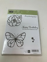 Stampin Up Beautiful Day Butterfly Flower Birthday Rubber Cling Stamp Se... - $12.86