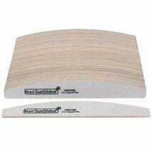 Sandpaper Nail Art Files Grey Wooden Sanding Nail Buffer Curved 50Pcs 100/180 image 6