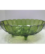VINTAGE OVAL GREEN CARNIVAL GLASS INDIANA GLASS BOWL HARVEST GREEN - $29.99