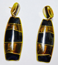 "Berebi Earrings Black Brown Gold Enamel - Vintage Dangles 2.5""  - $18.00"