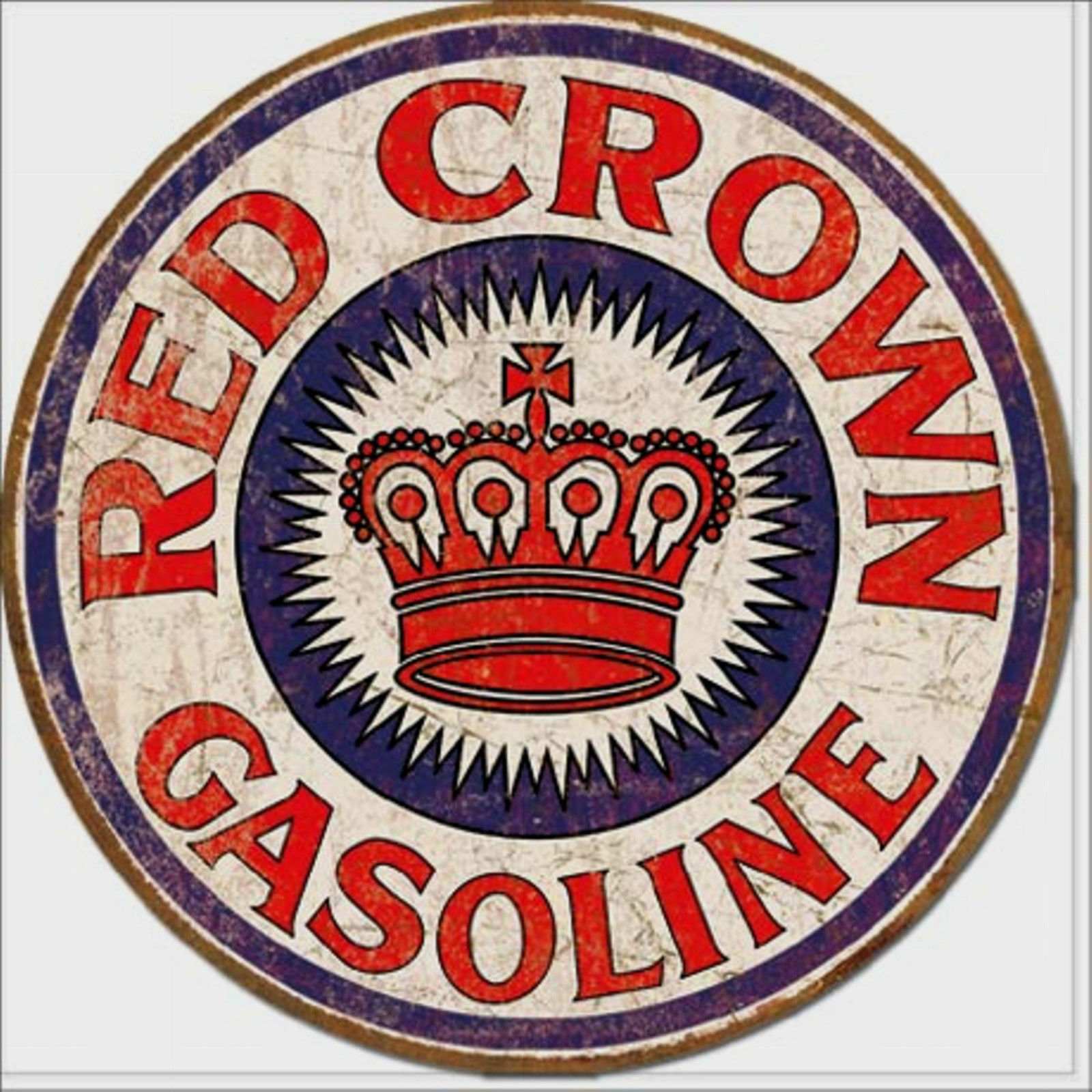 Red Crown Gasoline Metal Sign Tin New Vintage Style USA #1899