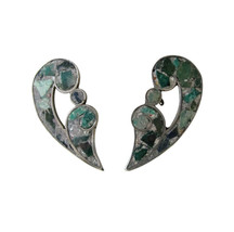 Vintage Mexican Sterling Silver with Green Stone Mosaic Screw Back Earrings - $28.00