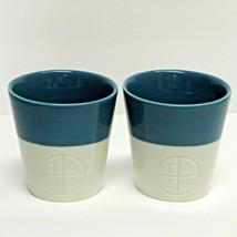 STARBUCKS COFFEE COMPANY LOT (2) 2011 BLUE & WHITE 8 oz ETCHED TAO TEA CUPS - $40.80