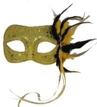 Gold Venetian Style Mardi Gras Masquerade Mask w/ Ribbons, Feathers & Rhinestone - $13.91