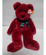 TY Beanie Buddy Teddy 1998 Cranberry Bear with Green Ribbon - $10.24