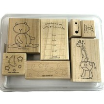 Stampin Up! Bundle Of Joy Stamp Set RETIRED Giraffe Teddy Bear Baby Anno... - $16.79