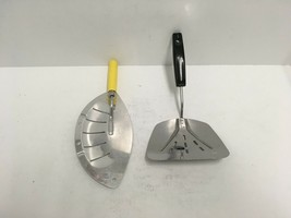 Vintage Foley Flipper Spatula and Pot Strainer Drainer W/Yellow Wood Han... - $37.39