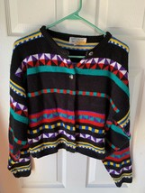 SATURDAY MORNING VINTAGE WOMENS BLACK,RED,GREEN,YELLOW BUTTON UP SWEATER... - $11.87