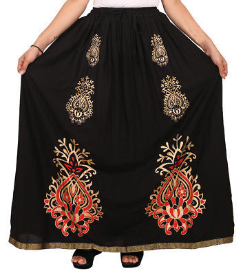 Comfortable Rajasthani Printed Vibrant Color Cotton Straight Maxi Skirt