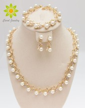 Free Shipping 2020 Classic Imitation Pearl Gold /Silver Plated Clear Cry... - $21.21
