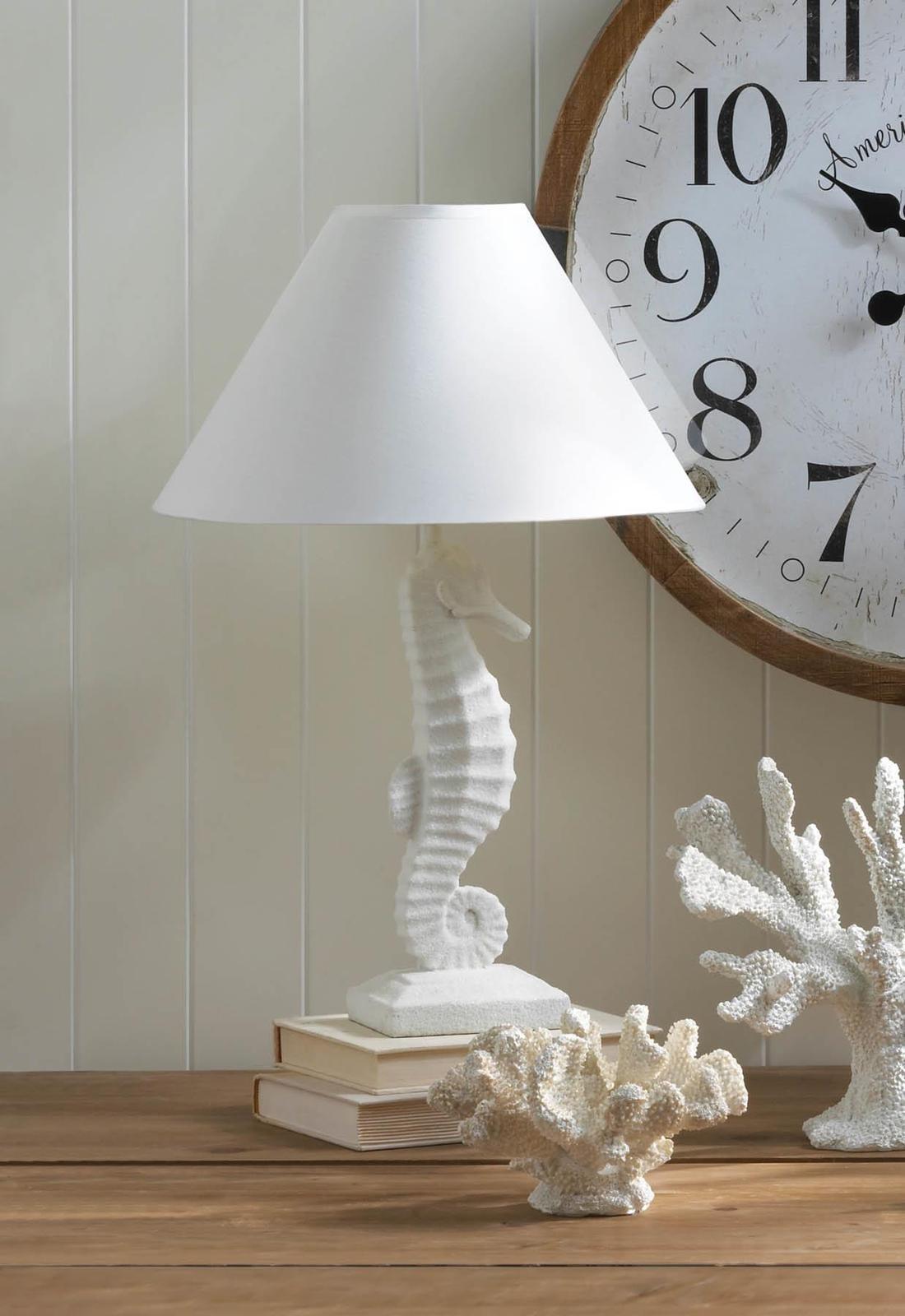 2 WHITE SEAHORSE Table Lamps Coastal Nautical Decor