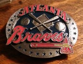 Atlanta Braves Baseball Belt Buckle - Vintage 1991 Siskiyou Pewter Georg... - $79.19