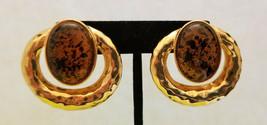 Vintage Gold Tone Knocker Style Clip-on Earrings - $9.90