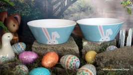 CRATE & BARREL BUNNY MELAMINE BOWLS (2) - NWT- EAT UP WITH SPRINGTIME FUN! - $24.95