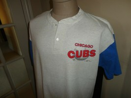 Vtg 90's Chicago Cubs Raglan MLB Baseball GTS 50-50 Jersey Adult XL Lt Gray Blue - $40.58