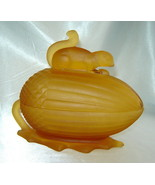 Vintage L.E. SMITH Frosted Amber Glass SQUIRREL ON NUT Covered Candy Dish - $39.10