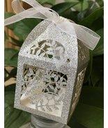 100pcs glitter silver laser cut Gift Box,laser cut wedding favor boxes,c... - $48.00