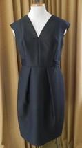 Carmen Marc Valvo Dress Black Cocktail Satin Tie V Neck Sleeveless 10 - $78.35