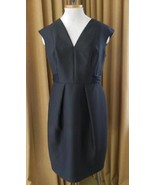 Carmen Marc Valvo Dress Black Cocktail Satin Tie V Neck Sleeveless 10 - $39.55