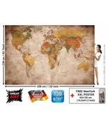 Weltkarte Foto Wandbild Stil Vintage Retro Wandbild Größe XXL Dekoration... - $283.74