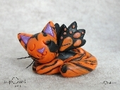 Napping Halloween Cat Fairy (Orange and black Polymer Clay Cat)
