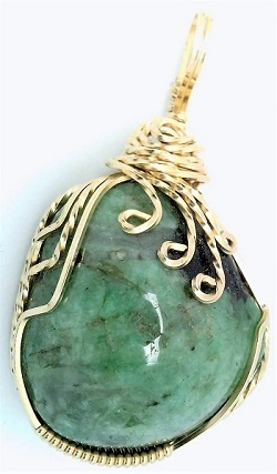 Emerald Gold Wire Wrap Pendant 31