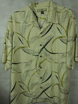 Collectors Tommy Bahama Yellow With Gold Leaves 100% Silk Hawaiian Camp ... - $15.35