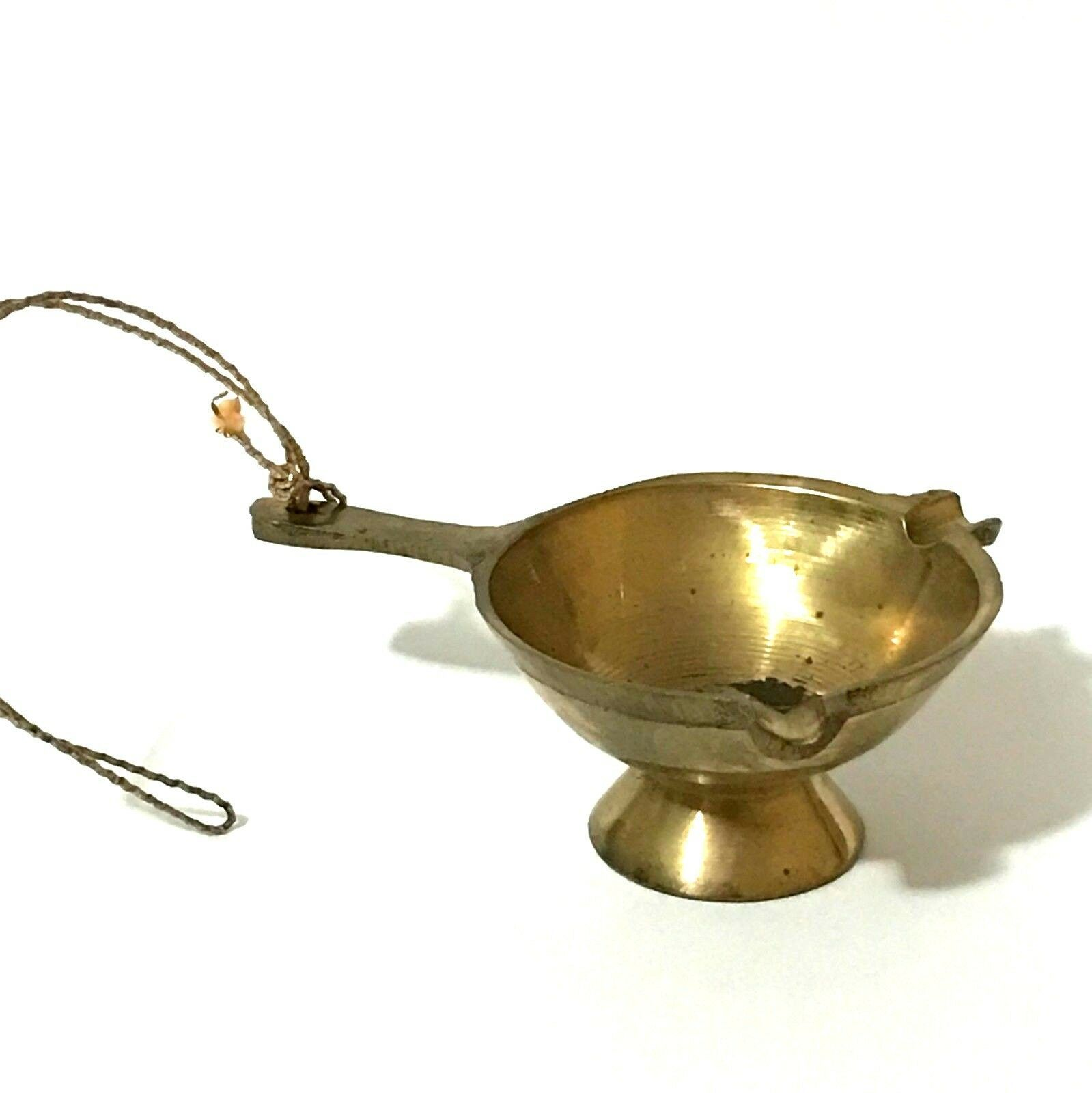 Vintage Miniature Brass Ornament Christmas Mini Ashtray With Handle Gold Patina image 10
