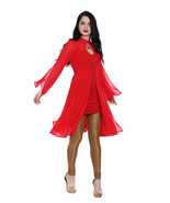 Ira Soleil red 2 pc set of chiffon kurti with slit on sleeves and viscos... - $49.99