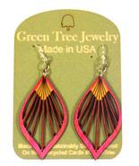 Green Tree Jewelry Fan Leaf Wooden Laser Cut Earrings #1028 Pink Color - $9.99