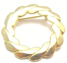 Vintage Sarah Coventry Signed Gold Plated Round Wreath Brooch Pin G662 - $11.88