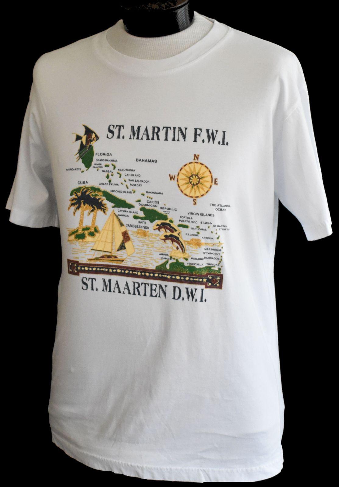 Vintage 1980s St Maarten Martin Souvenir Crewneck Tee Adult S M Hipster