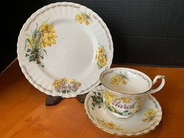 Golden Crown E & R Bouquet of the Month Teacup saucer plate EUC March Jo... - $23.38
