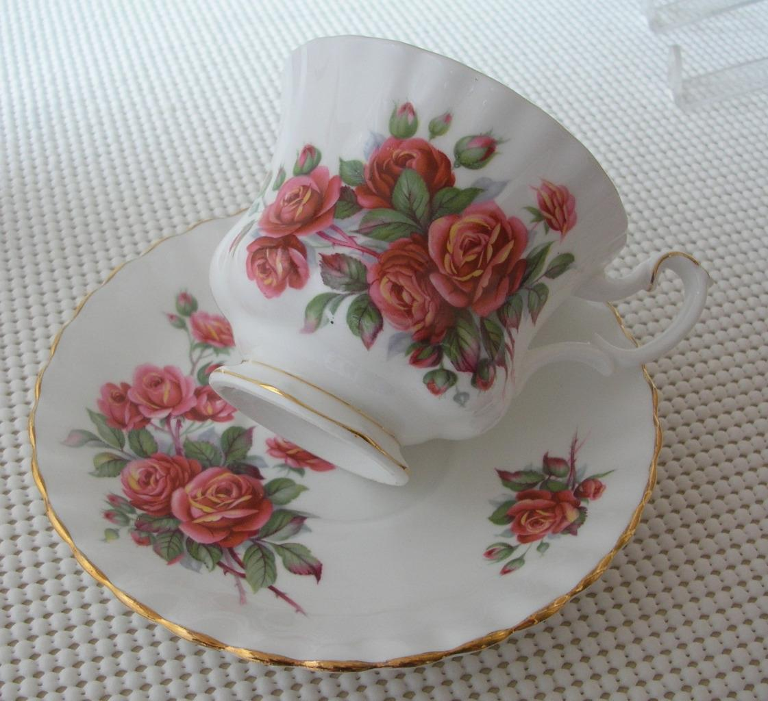 Primary image for CENTENNIAL ROSE Royal Albert China FOOTED TEA CUP & SAUCER England EUC