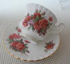 CENTENNIAL ROSE Royal Albert China FOOTED TEA CUP & SAUCER England EUC - $15.51
