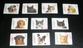 United States 4451-4460 Shelter Pets Stamps Set of 10 Used Off Paper - $2.75