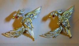 Pair Vintage 1950s+ Rising Phoenix Bird Pins Goldtone Teardrop Opalescen... - $55.00