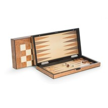 Bey Berk Lacquer Finished Brown Wood Backgammon & Chess Set - $159.95