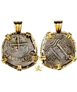 BOLIVIA JEWELRY PENDANT GOLD BEZEL 2 REALES 1660 PIRATE TREASURE COIN JE... - $1,495.00
