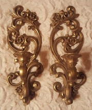 """""""Vintage"""" Homco Gold Wall Sconces Candle Holders Home Interior - Set of 2  - $16.99"""